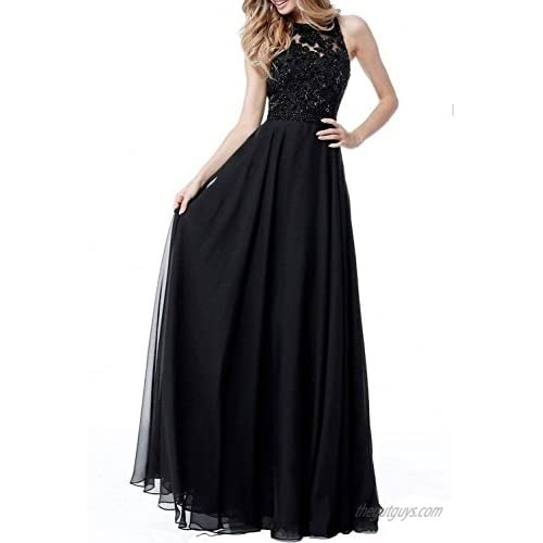 PEARL BRIDAL HOUSE PearlBridal Women's Appliques Chiffon Bridesmaid Dresses Backless High Neck Long Formal Evening Gowns