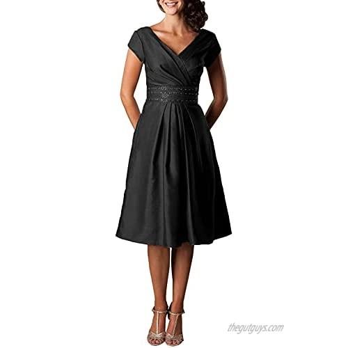 V Neck Tea Length Mother of The Bride Dress Short Cap Sleeve Formal Dresses for Women