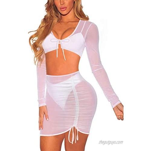 Meenew Women's Sexy Long Sleeve Sheer Mesh 2 Piece Swimsuit Beach Cover Up Dress