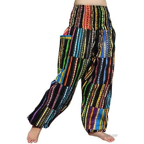 Full Funk Smock Waist African Dashiki Patch Long Elastic Waist Harem Pants