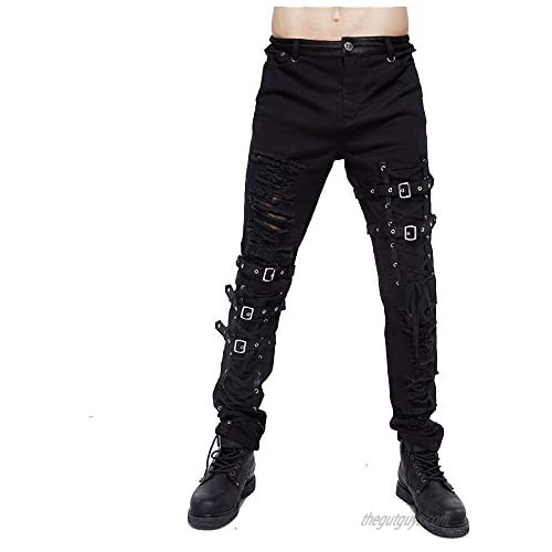 Hip hop Tactical Lace Hole Belt Pants for Men Gothic Clothing Black Skinny Jeans Steampunk Trousers