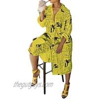 ECHOINE Women's Casual Printed Long Sleeve Button Down Tunic Shirt Dress S XXL