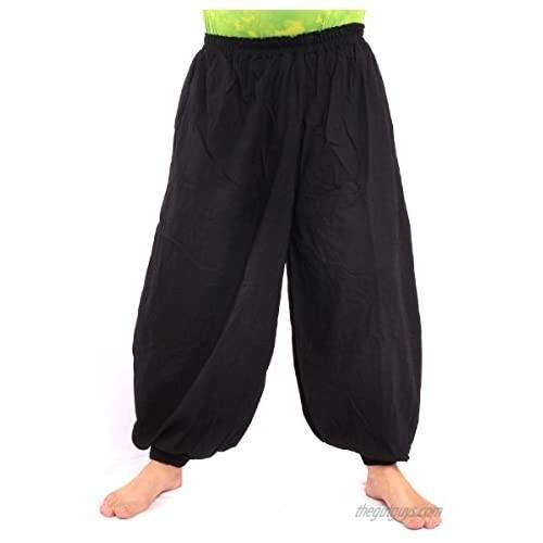 jing shop High Cut Balloon Harem Pants One Size Cotton Unisex for Men and Women …