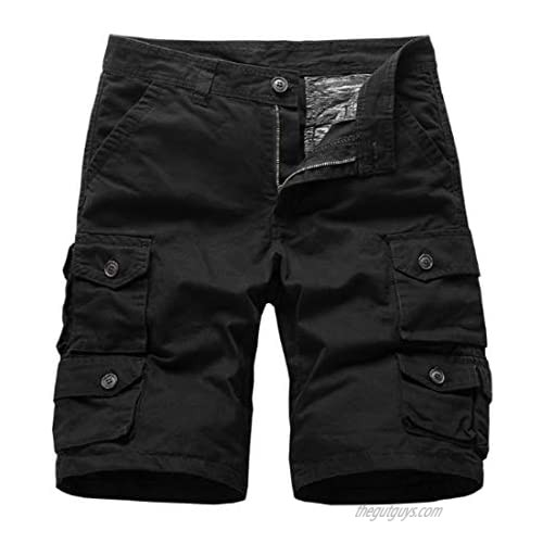 Fulision Men's Cotton Twill Cargo Shorts Outdoor Tactical Multi Pockets Moisture Wicking Classic Fit Lesuire Hiking Shorts