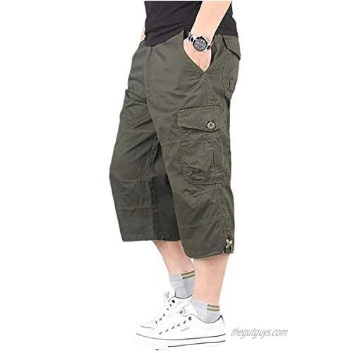 TOSKIP Men's Casual Twill Elastic Ripstop Basic Cargo Shorts Below Knee Loose Fit Multi-Pocket Capri Long Shorts All-Season