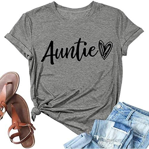 Auntie Shirt for Women Cute Love Heart Graphic Tees Aunt T-Shirt Casual Short Sleeve Vacation Shirts Tops