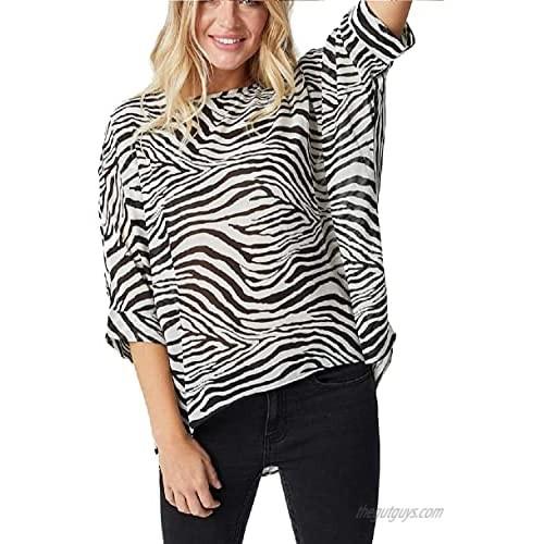 tmtonmoon Women's Casual Tunic Tops Leopard 3/4 Sleeve Twist Knot Blouses Loose Tshirts Crewneck